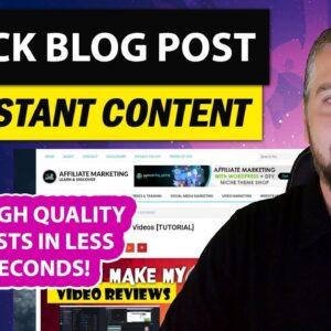 1 Click Blog Post Review & Demo: 1 Click Blog Post Content Creation
